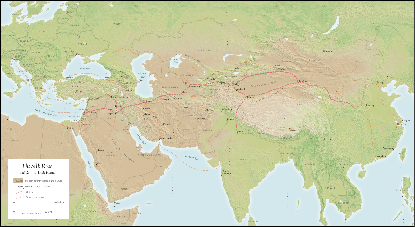 Map of ancient asian trade routes notes on intercultural the silk road and related trade routes gumiabroncs Choice Image